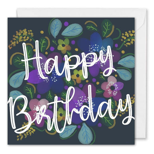 Custom Corporate Birthday Card Blue Flowers