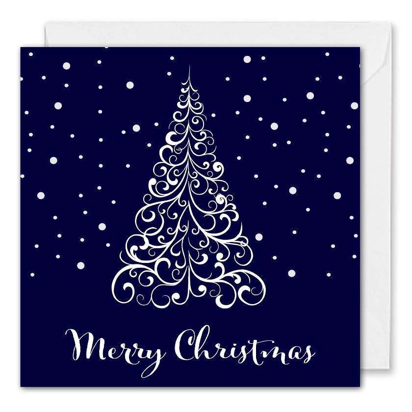 Custom Corporate Christmas Card - Blue Christmas Tree