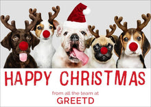 Load image into Gallery viewer, Funny Christmas Card For Business - Festive Dogs - Custom Logo