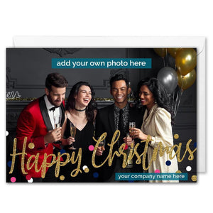 Custom Business Photo Christmas Card - Confetti Glitter - B2B