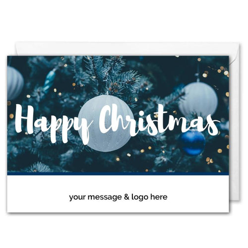 Happy Christmas Card For Business - Blue Baubles - Custom Logo
