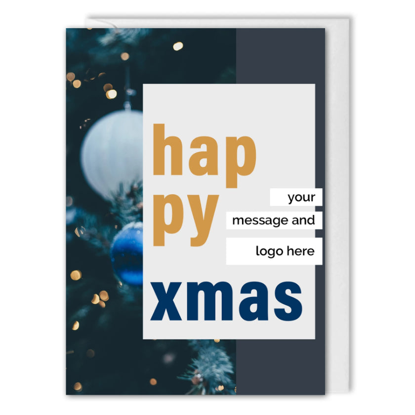 Happy Xmas Card For Business - Blue Baubles - Custom Logo
