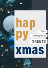 Load image into Gallery viewer, Blue and Gold Baubles Christmas Card Business Personalised