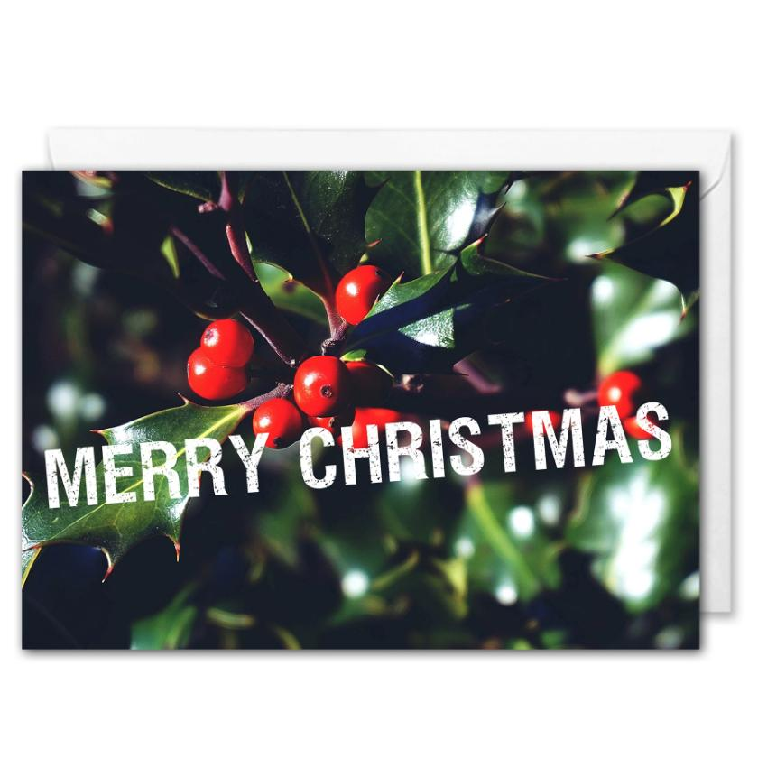 Personalised Merry Christmas Card For Business - Holly