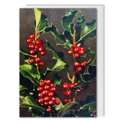 Holly Vintage Christmas Card For Business