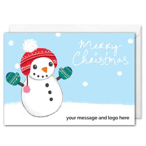 Personalised Business Merry Christmas Card - Mittens Snowman