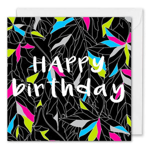 Personalised Modern Business Birthday Card - Leaves