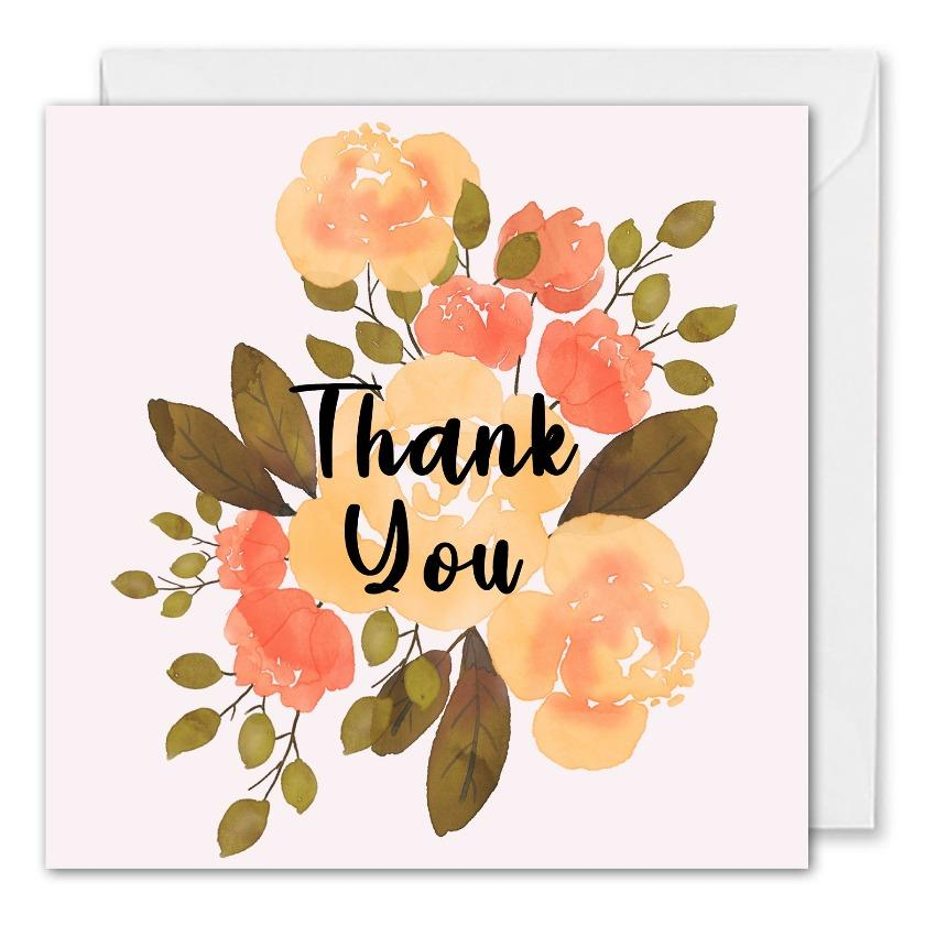 Personalised Logo Business Thank You Card Roses