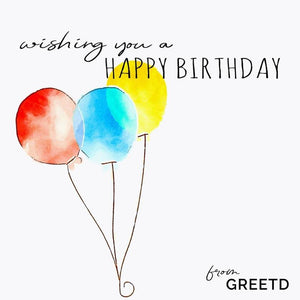 Custom Business Birthday Card Three Balloons