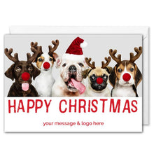 Load image into Gallery viewer, Custom Logo Christmas Card For Business - Funny Dogs