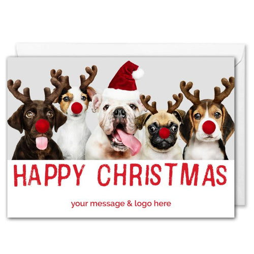 Custom Logo Christmas Card For Business - Funny Dogs