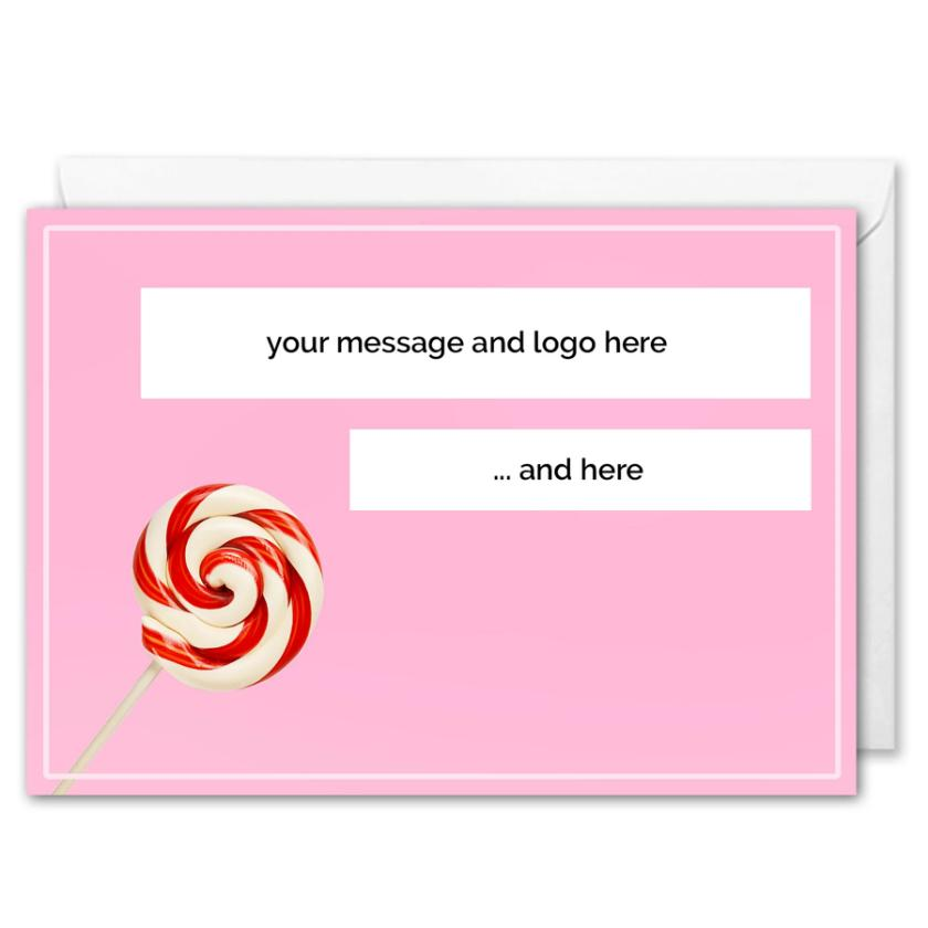 Personalised Logo Business Christmas Card -Swirl Lollipop