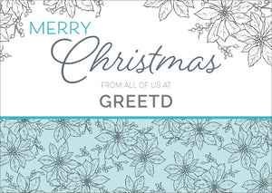 Custom Business Christmas Card - Blue Poinsettia