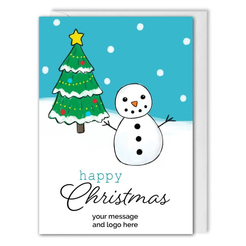 Personalised Business Christmas Card - Snowman, Christmas Tree