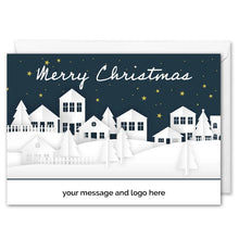 Load image into Gallery viewer, Snowy Houses Christmas Card For Business Custom Logo