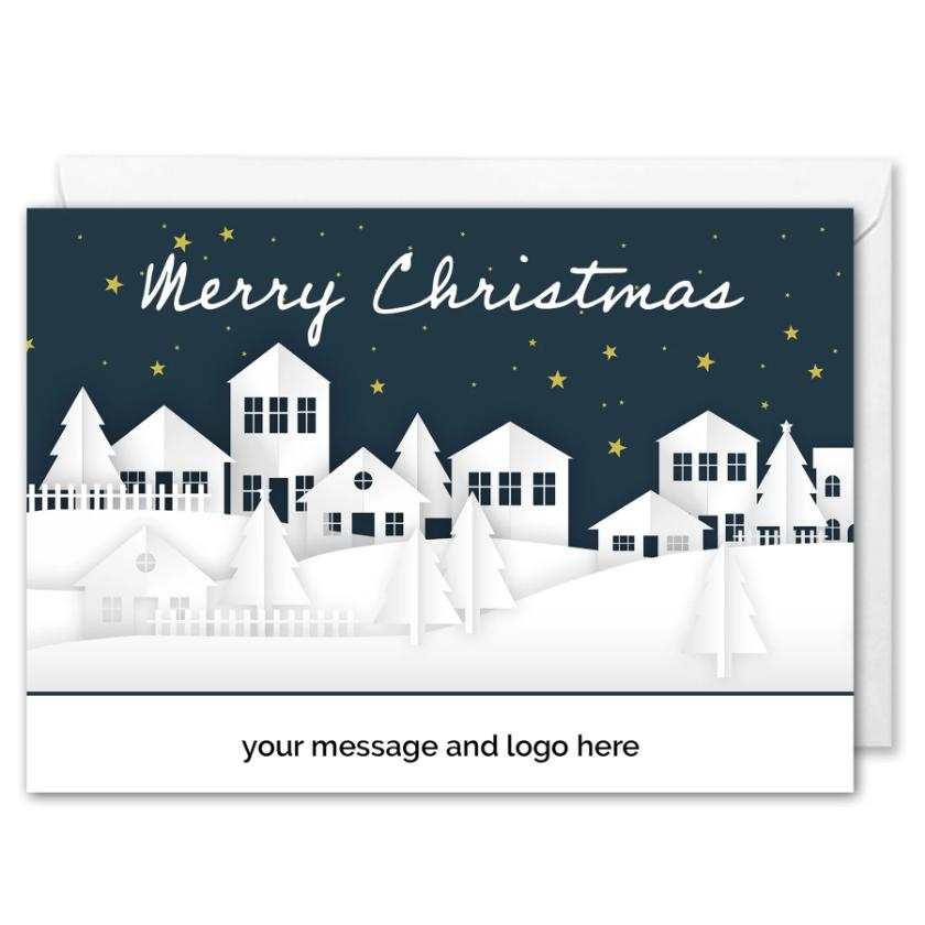 Snowy Houses Christmas Card For Business Custom Logo