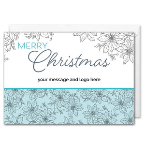 Custom Logo Corporate Christmas Card - Poinsettia Floral