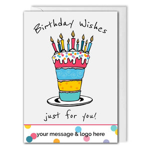 Business Birthday Card - Birthday Cake - Employees, Clients