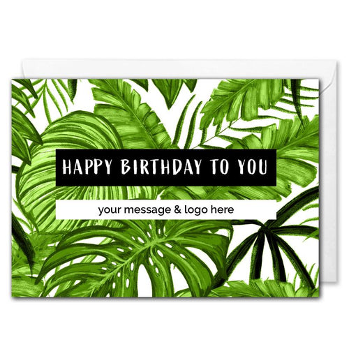Custom Business Birthday Card - Tropical Leaves