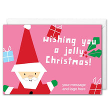 Load image into Gallery viewer, Pink Santa Christmas Card For Business