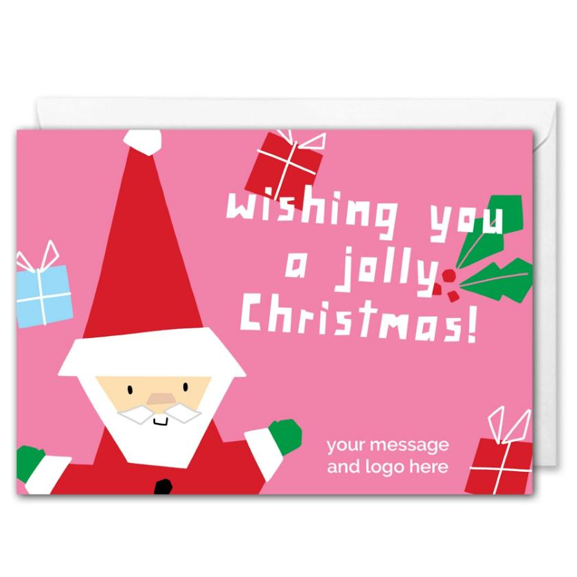 Pink Santa Christmas Card For Business