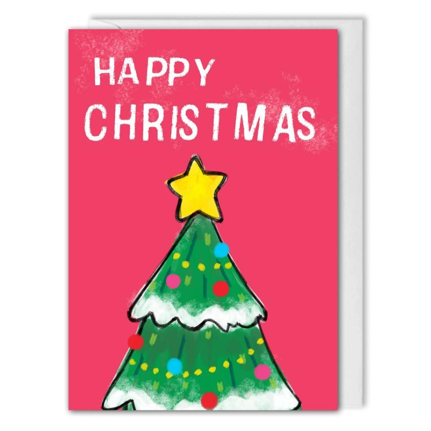 Custom Logo Christmas Tree Card For Business - Pink - B2B