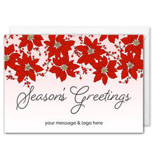 Load image into Gallery viewer, Season's Greetings Corporate Christmas Card - Pink Poinsettia