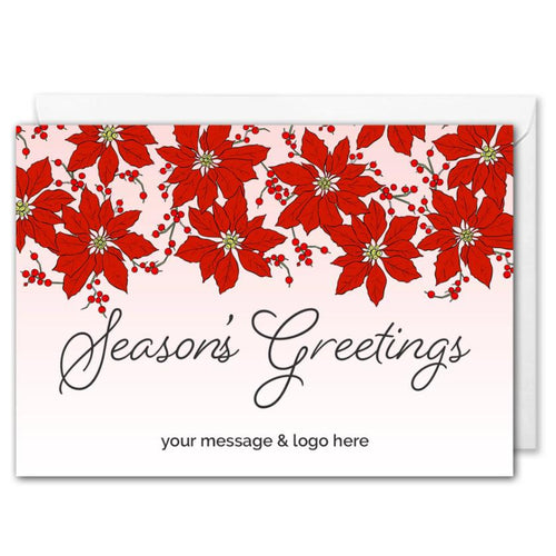Season's Greetings Corporate Christmas Card - Pink Poinsettia