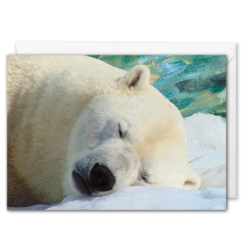 Custom Corporate Christmas Card - Polar Bear Art