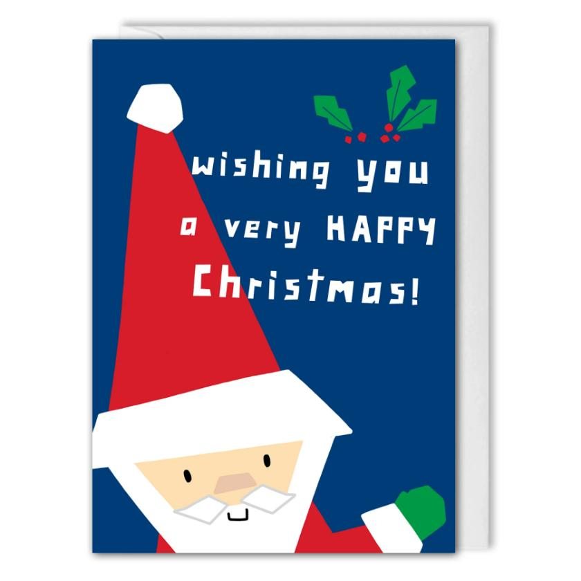 Blue Business Christmas Card - Santa