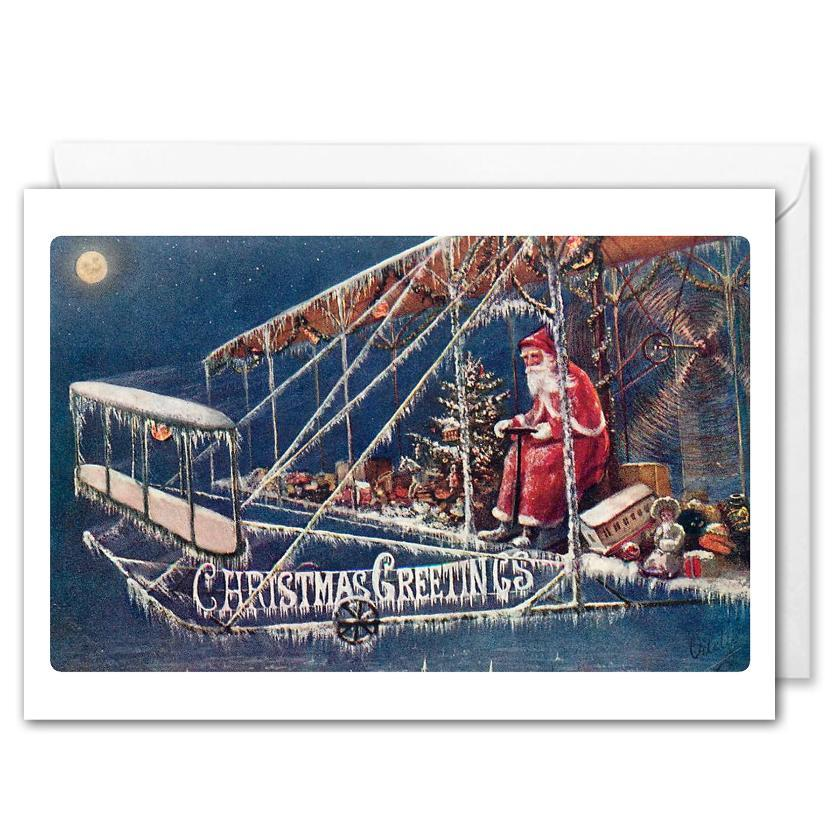 Santa Business Christmas Card - Vintage Aviation Postcard