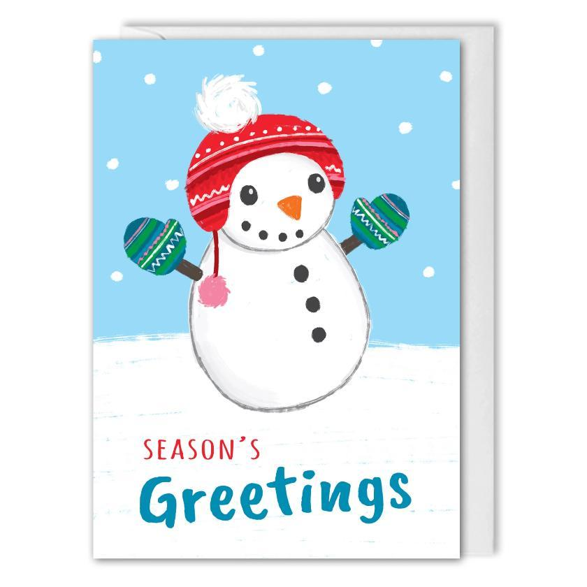 Season's Greetings Snowman Christmas Card Business