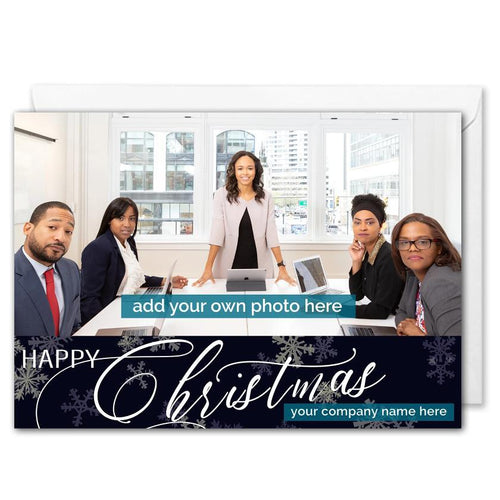 Personalised Business Photo Christmas Card - Snowflakes - B2B