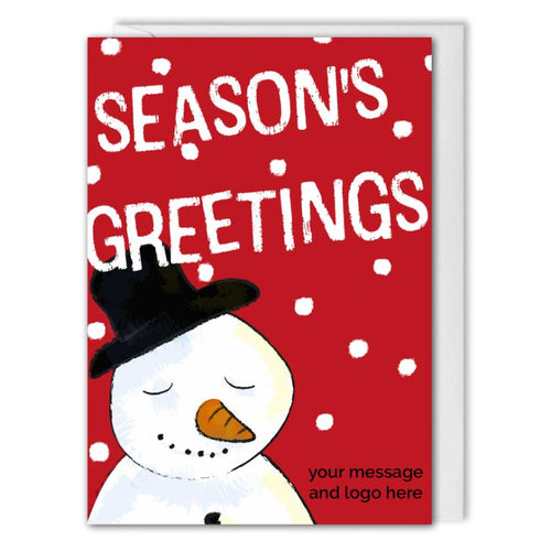Snowman Christmas Card For Business - Clients, Employees - Red