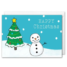 Load image into Gallery viewer, Custom Corporate Christmas Card - Snowman, Christmas Tree
