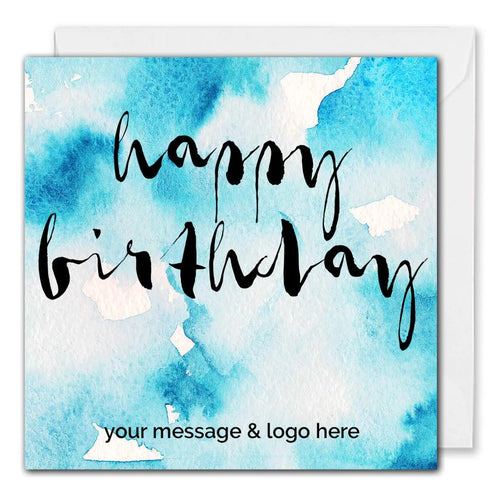 Watercolour Birthday Card For Business - Custom Logo