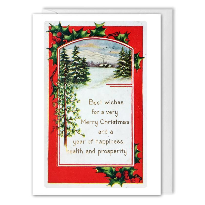 Custom Logo Corporate Vintage Christmas Greetings Card - B2B