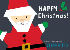 B2B Christmas Cards Santa - Custom Logo, Message