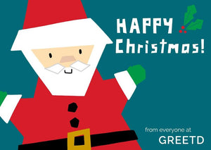 Santa Christmas Card For Business - Green