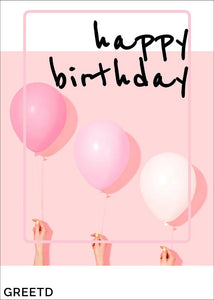 Pink Balloons Birthday Card