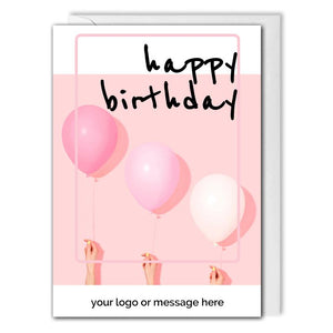 Pink Balloons Business Birthday Card