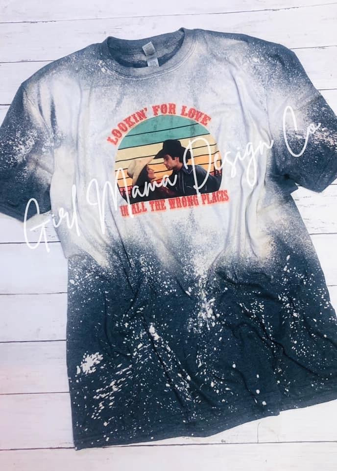 Urban Cowboy Lookin' For Love  Bleached Acid Washed Graphic Tee