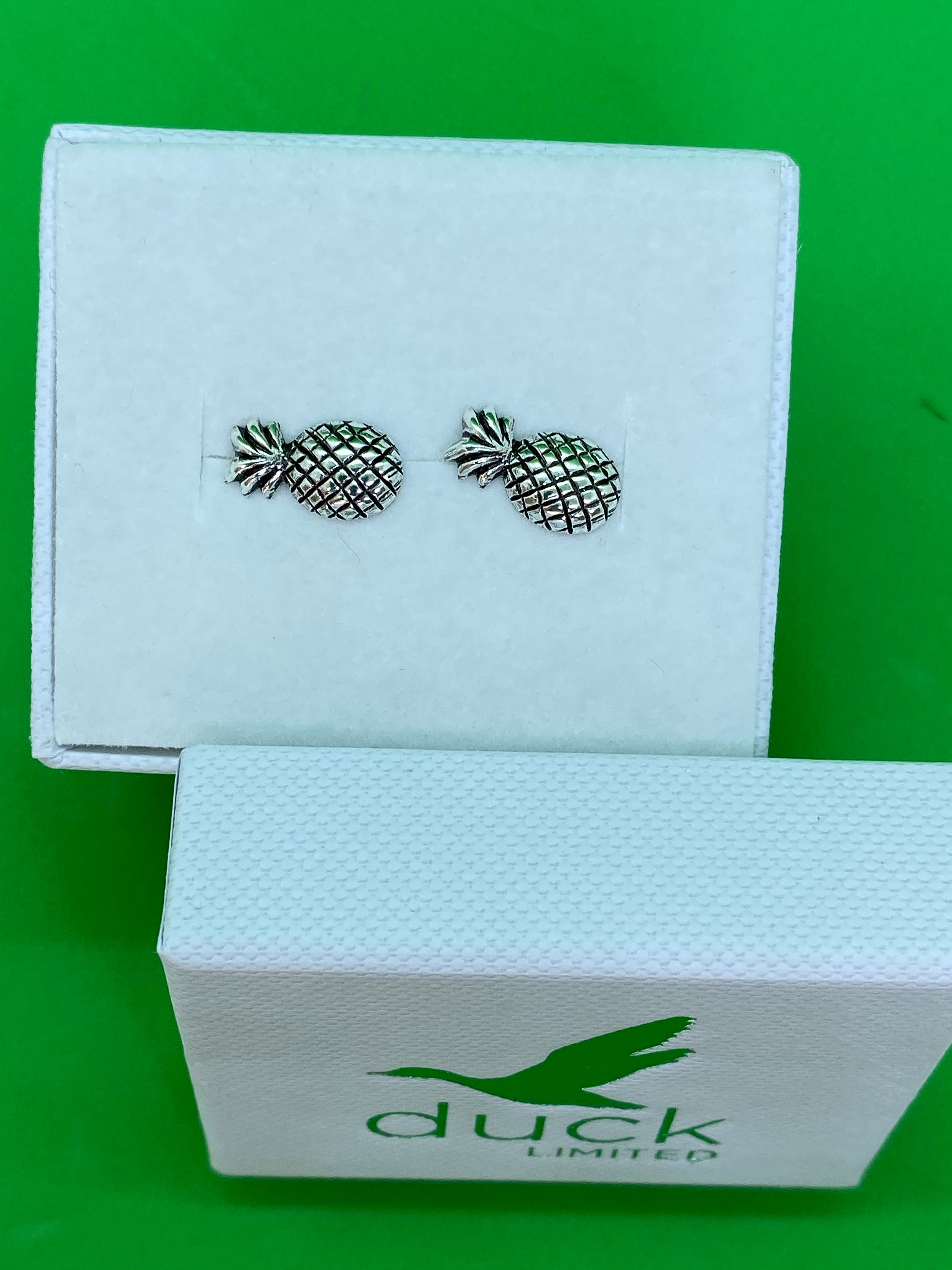 Sterling Silver Pineapple Stud Earrings