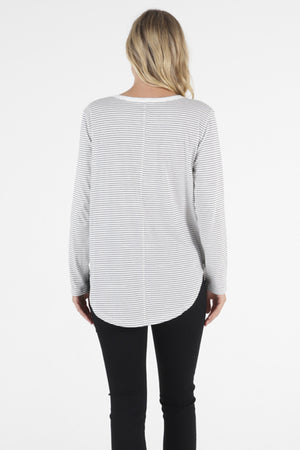 Megan long sleeve top Betty Basics white /blk stripe