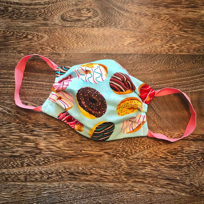 Adult Reusable Face Mask with Filter: Donuts - Adjustable Nose Wire Inside