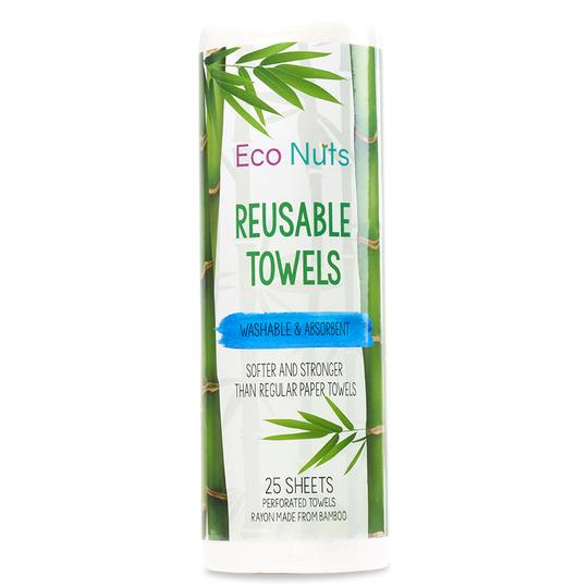 Eco Nuts Reusable Bamboo Towels - 25 Sheets