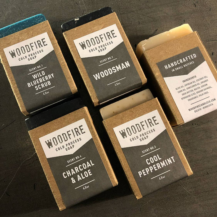 Woodfire Candle Co. Woodsman or Charcoal & Aloe Cold Process Activated Charcoal Soap