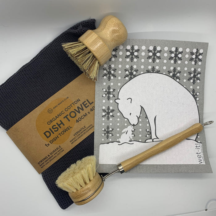 Polar Bear Dishwashing Set Gray