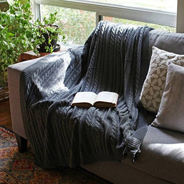 Cable Knit Throw Blanket (Organic Cotton)