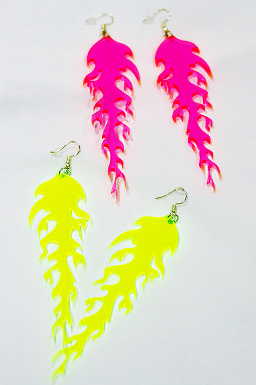 Pink Neon Flame Drop Earrings